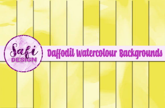 Print on Demand: Daffodil Watercolour Digital Papers Graphic Backgrounds By Safi Designs