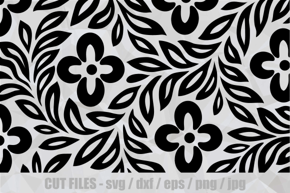 Download Free Decorative Japanese Floral Art Cut File Graphic By Prawny for Cricut Explore, Silhouette and other cutting machines.