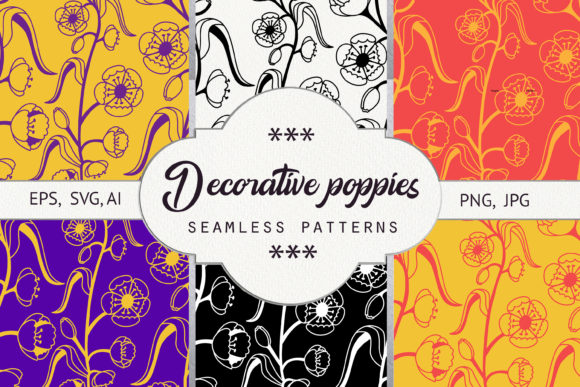 Print on Demand: Decorative Poppies. Seamless Pattern Graphic Backgrounds By Natika_art