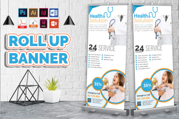 Download Free Doctor Medical Roll Up Banner Vol 08 Graphic By Imagine Design for Cricut Explore, Silhouette and other cutting machines.
