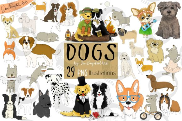Dogs - Big Graphics Set Graphic Illustrations By Jen Digital Art