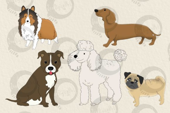 Download Free Dogs Big Graphics Set Graphic By Jen Digital Art Creative for Cricut Explore, Silhouette and other cutting machines.