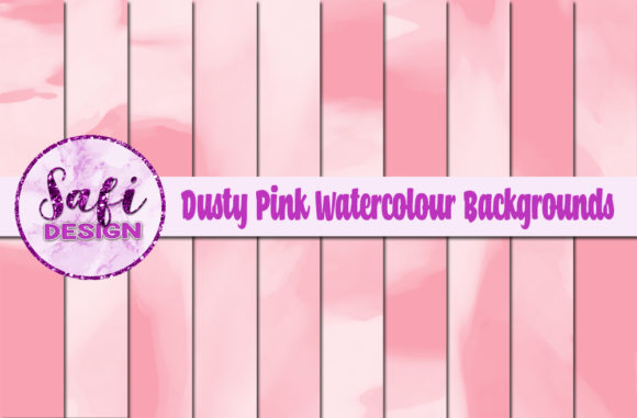 Print on Demand: Dusty PInk Watercolour Digital Papers Graphic Backgrounds By Safi Designs