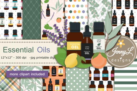 Essential Oils Digital Papers & Clipart Graphic Patterns By jennyL_designs