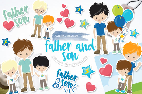 Print on Demand: Father and Son Gráfico Ilustraciones Por Prettygrafik