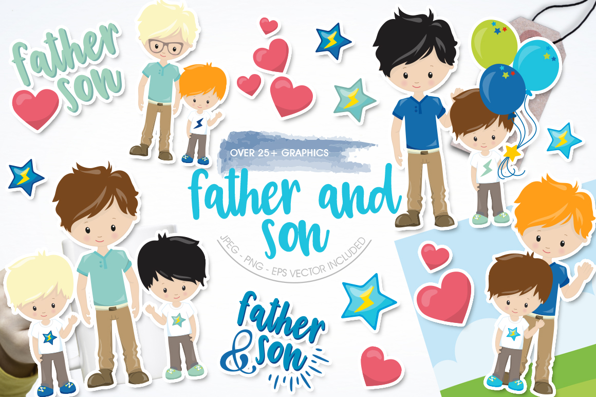 Download Free Father And Son Graphic By Prettygrafik Creative Fabrica for Cricut Explore, Silhouette and other cutting machines.