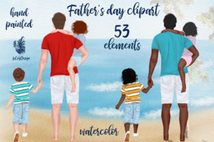 Print on Demand: Father and Children Clipart Graphic Illustrations By LeCoqDesign
