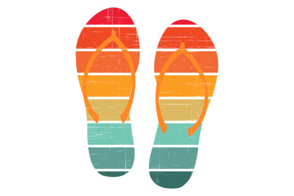 Print on Demand: Flip Flops Retro Sunset 4 Color Palette Graphic Logos By SunandMoon