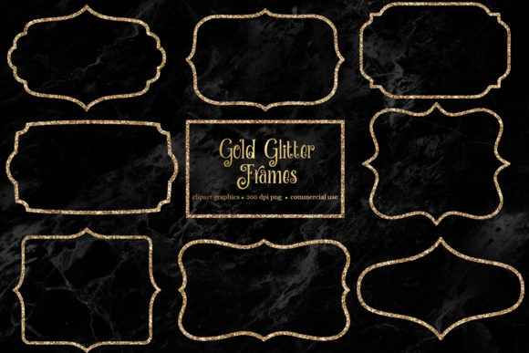 Print on Demand: Gold Glitter Frame Clipart Graphic Illustrations By Digital Curio