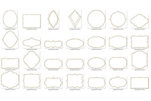 Download Free Gold Glitter Frame Clipart Graphic By Digital Curio Creative Fabrica for Cricut Explore, Silhouette and other cutting machines.