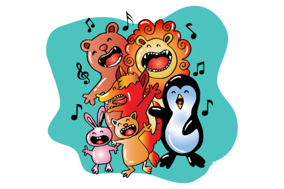 Download Free Group Of Cute Animals Singing Graphic By Han Dhini Creative for Cricut Explore, Silhouette and other cutting machines.