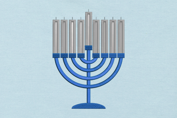 Hanukkah Menorah Applique Holidays & Celebrations Embroidery Design By DesignedByGeeks