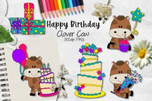 Download Free Happy Birthday Clover Cow Cu Clipart Graphic By Arda Designs for Cricut Explore, Silhouette and other cutting machines.