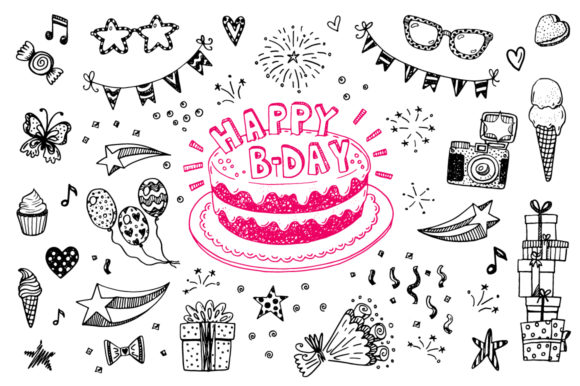 Download Free Birthday Party Doodle Icons Patterns Graphic By Teploletauf for Cricut Explore, Silhouette and other cutting machines.