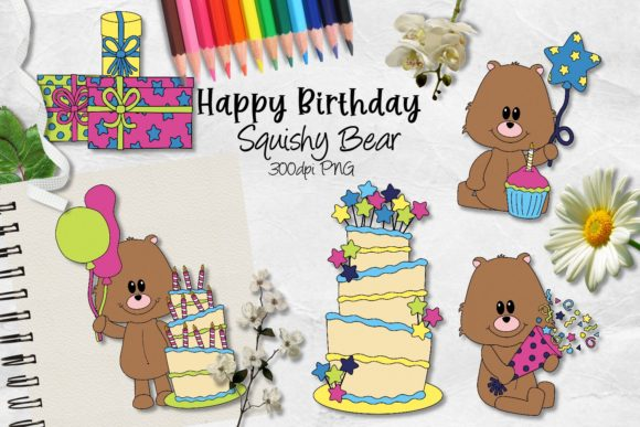 Download Free Happy Birthday Squishy Bear Cu Clipart Graphic By Arda Designs for Cricut Explore, Silhouette and other cutting machines.