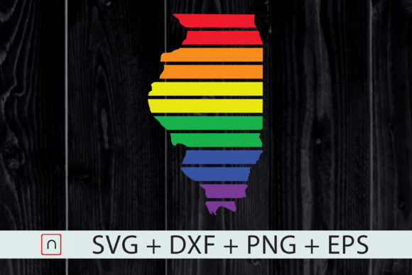 Download Free Illinois State Map Rainbow Lgbt Pride Graphic By Novalia for Cricut Explore, Silhouette and other cutting machines.