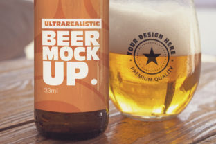 Print on Demand: Label & Cup Beer Mockup Graphic Product Mockups By SmartDesigns 1