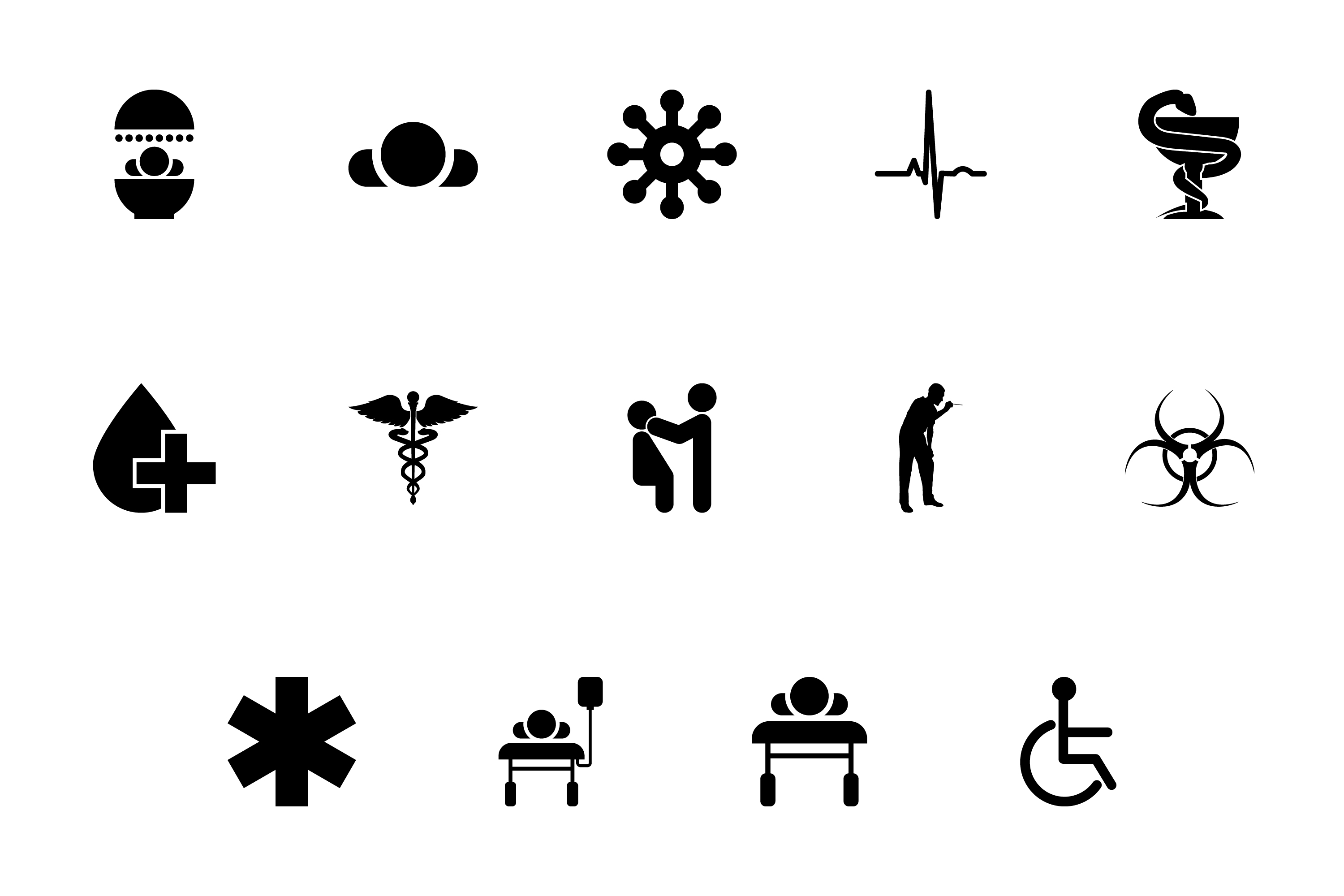 Download Free Medical Symbol Treatment Concept Black Set Graphic By for Cricut Explore, Silhouette and other cutting machines.