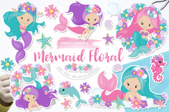 Print on Demand: Mermaid Floral Graphic Illustrations By Prettygrafik
