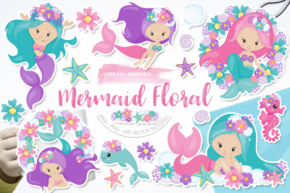 Download Free Mermaid Floral Graphic By Prettygrafik Creative Fabrica for Cricut Explore, Silhouette and other cutting machines.