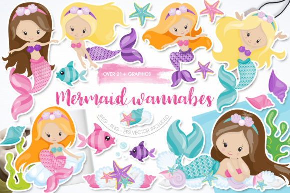 Print on Demand: Mermaid Wannabes Graphic Illustrations By Prettygrafik