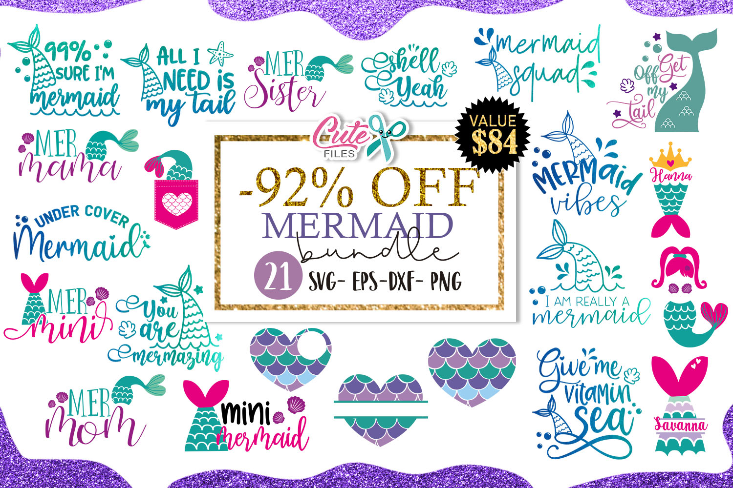 Download Free Mermaid Bundle Cut File For Crafter Graphic By Cute Files for Cricut Explore, Silhouette and other cutting machines.