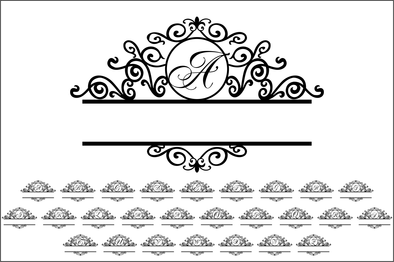 Download Free Monogram Alphabet Graphic By Bn3300877 Creative Fabrica for Cricut Explore, Silhouette and other cutting machines.