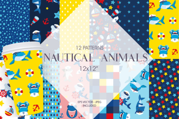 Print on Demand: Nautical Animals Graphic Patterns By Prettygrafik