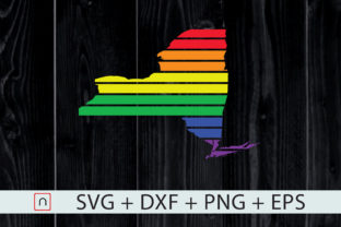 Print on Demand: New York State-Map Rainbow-LGBT Pride Graphic Crafts By Novalia