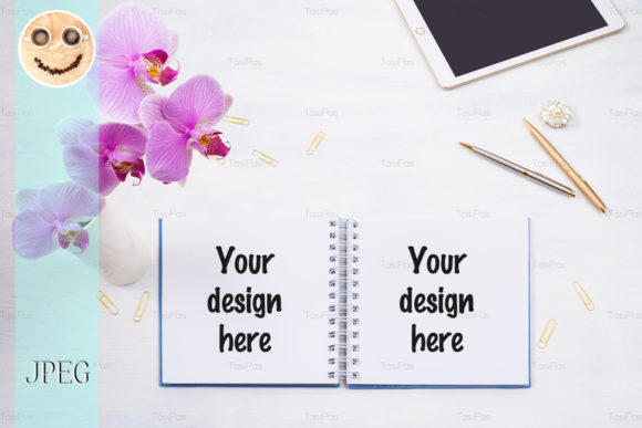 Download Free Notepad Mockup With Tablet Pink Orchid Graphic By Tasipas for Cricut Explore, Silhouette and other cutting machines.