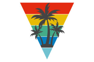 Print on Demand: Palm Trees Triangle Retro Sunset Summer Graphic Logos By SunandMoon
