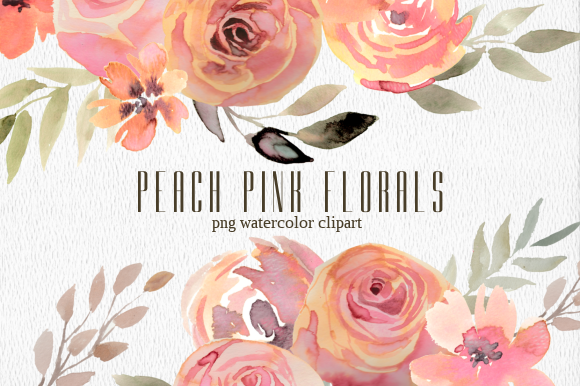 Print on Demand: Peach Pink Floral Watercolor Clipart Set Graphic Illustrations By roselocket