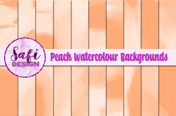 Print on Demand: Peach Watercolour Digital Papers Graphic Backgrounds By Safi Designs
