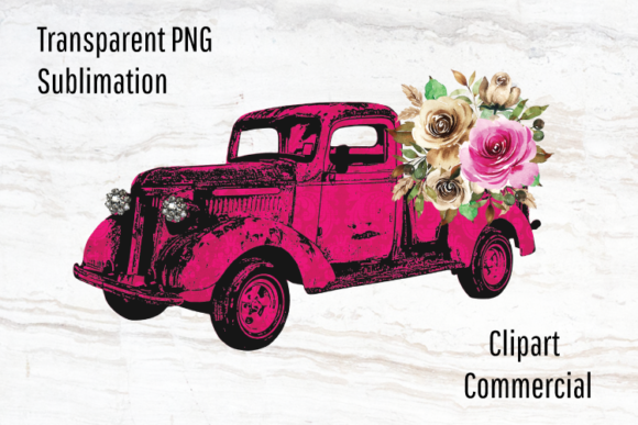 Print on Demand: Pink Truck Clipart, Watercolor Flowers Graphic Illustrations By Blueberry Jam Design