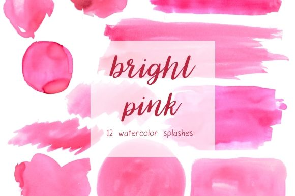 Print on Demand: Pink Watercolor Splashes Clipart Set Graphic Illustrations By roselocket