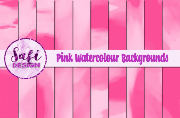 Print on Demand: Pink Watercolour Digital Papers Graphic Backgrounds By Safi Designs
