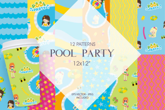 Print on Demand: Pool Party Graphic Patterns By Prettygrafik