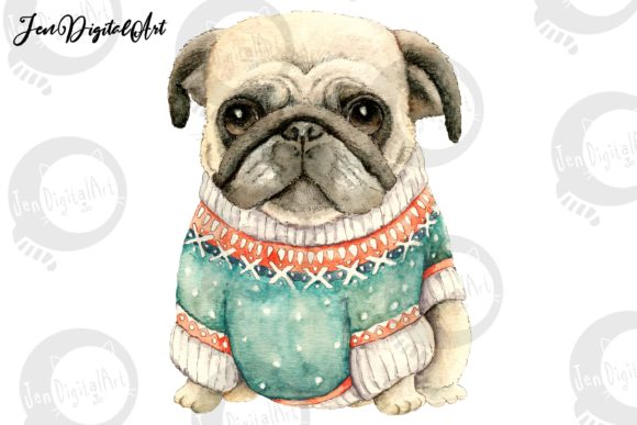 Pug Wearing a Sweater Graphic Illustrations By Jen Digital Art - Image 1