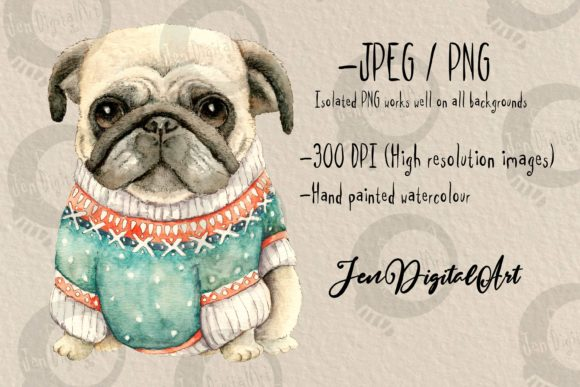 Pug Wearing a Sweater Graphic Illustrations By Jen Digital Art - Image 2