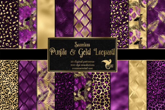 Print on Demand: Purple and Gold Leopard Digital Paper Graphic Patterns By Digital Curio