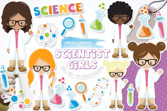 Print on Demand: Scientist Girls Graphic Illustrations By Prettygrafik
