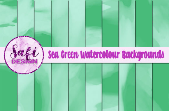 Print on Demand: Sea Green Watercolour Digital Papers Graphic Backgrounds By Safi Designs