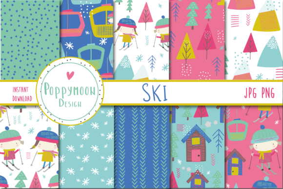 Print on Demand: Ski Paper Set Graphic Patterns By poppymoondesign