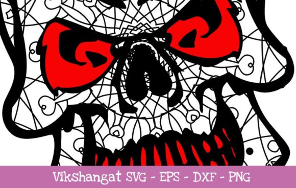 Download Free Skull Classic Pattern Cut Files Graphic By Vikshangat Creative for Cricut Explore, Silhouette and other cutting machines.