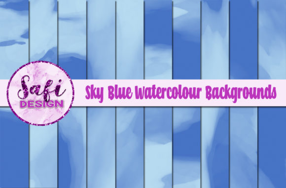 Print on Demand: Sky Blue Watercolour Digital Papers Graphic Backgrounds By Safi Designs