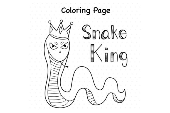 Snake King Graphic Coloring Pages & Books Kids By TakeNoteDesign