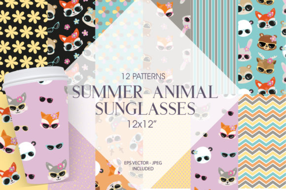 Print on Demand: Summer Animal Sunglasses Graphic Patterns By Prettygrafik