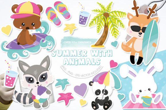 Print on Demand: Summer with Animals Graphic Illustrations By Prettygrafik