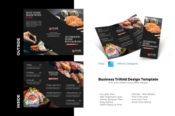 Download Free Sushi Trifold Brochure Template Graphic By Rivatxfz Creative for Cricut Explore, Silhouette and other cutting machines.