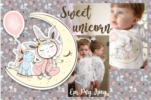 Download Free Sweet Unicorn Graphic By Grigaola Creative Fabrica for Cricut Explore, Silhouette and other cutting machines.